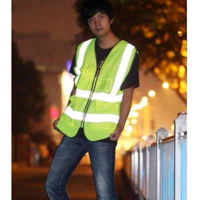 Safety Reflective Vest With Zipper for Sanitation Work