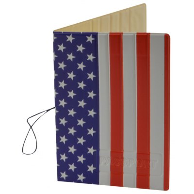 US Flag Style Passport Cover Holder Case