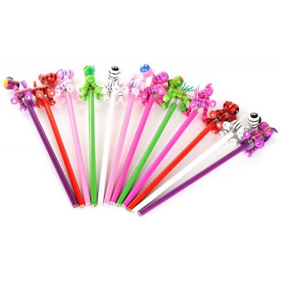12PCS Colorful Zebras Pattern Wood Pencil