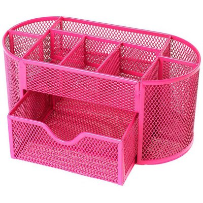 9-compartment Metal Wire Mesh Pen Holder