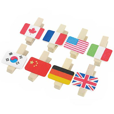 Country Flag Pattern Wood Paper Clips - 8PCS