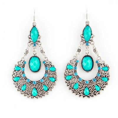 ER-3821 Hollow-out Earrings Water Drop Lady Ear Studs - 1 Pair