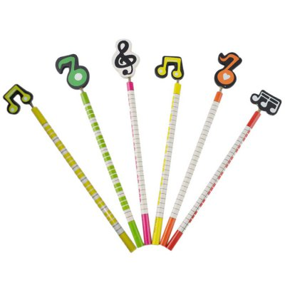 DEDO MG-8 Colorful Music Notes Wood Pencil - 6PCS