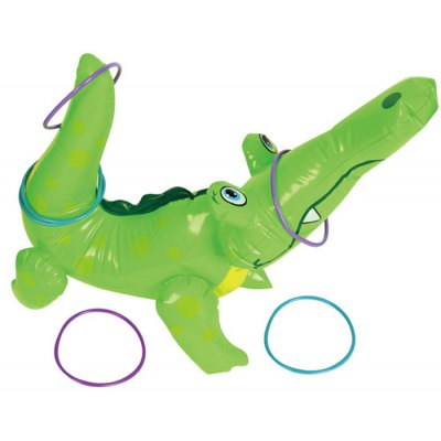 OUBEI Cute Inflatable Crocodile PVC Model Toy with Ring for Kids Game