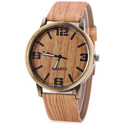 Quartz Unisex Watch Wooden Texture Round Dial Leather Band