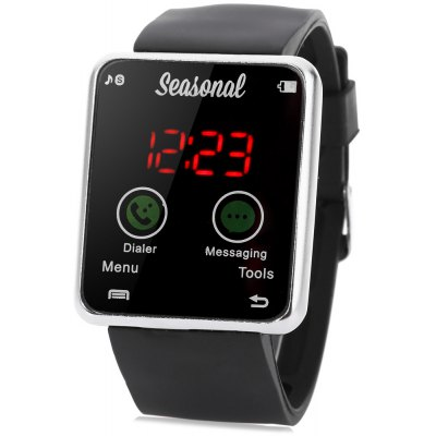 Seasonal Rectangle Dial Touch-screen LED Watch Rubber Band