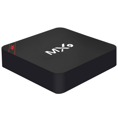 MX9 Smart Box TV AndroidTV Box &amp; Mini PC<br>MX9 Smart Box TV Android<br><br>Audio format: AAC, FLAC, WAV, WMA, OGG, DTS, APE, AMR-WB, AC3, MP3<br>Color: Black<br>Core: Quad Core<br>CPU: RK3229<br>DVD Support: No<br>External Subtitle Supported: No<br>GPU: Mali-400<br>HDMI Version: 1.4<br>Interface: Ethernet, AV, HDMI, SD Card Slot, SPDIF, USB2.0, DC 5V<br>Maximum External Hard Drives Capacity: 500GB<br>Model: MX9<br>Package Contents: 1 x MX9 TV Box, 1 x Power Adapter, 1 x HDMI Cable, 1 x Remote Control, 1 x English Manual<br>Package size (L x W x H): 28.30 x 15.30 x 6.00 cm / 11.14 x 6.02 x 2.36 inches<br>Package weight: 0.5750 kg<br>Power Supply: Charge Adapter<br>Power Type: External Power Adapter Mode<br>Product size (L x W x H): 11.80 x 11.80 x 2.50 cm / 4.65 x 4.65 x 0.98 inches<br>Product weight: 0.2450 kg<br>RAM: 1G RAM<br>RAM Type: DDR2<br>ROM: 8G ROM<br>Support 5.1 Surround Sound Output: No<br>System: Android 6.0<br>System Bit: 32Bit<br>Type: TV Box<br>Video format: VP6, VC-1, MPEG-1, VP8, 4K<br>WIFI: 802.11 a/b/g/n/ac