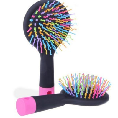 Portable 2 in 1 Rainbow Combs Volume Hair Brush Hairdressing Mirror Home Office Gadget