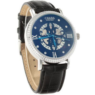 ФОТО CJIABA Date Hollow-out Automatic Mechanical Man Watch Leather Band