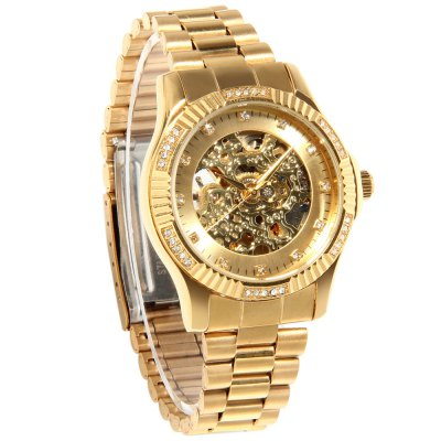 Rhinestone Scale Hollow-out Automatic Mechanical Man WatchMens Watches<br>Rhinestone Scale Hollow-out Automatic Mechanical Man Watch<br><br>Watches categories: Male table<br>Watch style: Business,Casual,Fashion<br>Style elements: Rhinestones<br>Available color: Black,Gold,Silver<br>Movement type: Automatic mechanical watch<br>Shape of the dial: Round<br>Display type: Analog<br>Case material: Alloy<br>Band material: Stainless Steel<br>Clasp type: Folding clasp with safety<br>Water resistance : 30 meters<br>The dial thickness: 1.3 cm / 0.51 inches<br>The dial diameter: 3.8 cm / 1.50 inches<br>The band width: 1.6 cm / 0.63 inches<br>Product weight: 0.090 kg<br>Package weight: 0.145 kg<br>Product size (L x W x H): 23.00 x 3.80 x 1.30 cm / 9.06 x 1.50 x 0.51 inches<br>Package size (L x W x H): 9.00 x 8.00 x 5.00 cm / 3.54 x 3.15 x 1.97 inches<br>Package Contents: 1 x Automatic Mechanical Watch