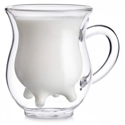 Interesting Cow Breast Bottom Shape Double-glass Heat-insulated Milk Cup