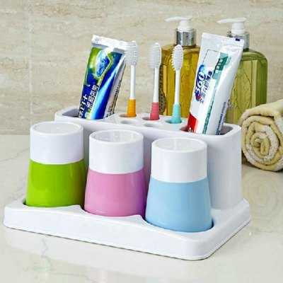 Fashionable Multi-function Plastic Toothbrush Holder + Toothbrush Cup Set