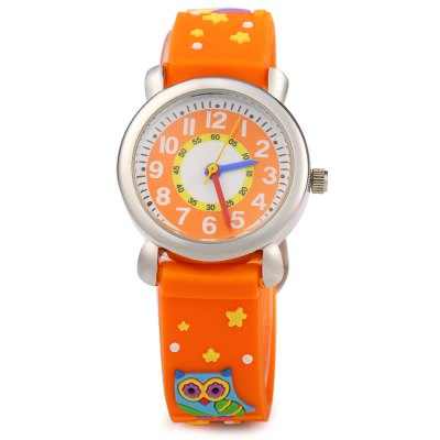 Stereo Cartoon Pattern Rubber Band Quartz Kids WatchKids Watches<br>Stereo Cartoon Pattern Rubber Band Quartz Kids Watch<br><br>Watches categories: Children watch<br>Watch style: Fashion<br>Available color: Black,Blue,Deep Green,Light Green,Orange,Pink,Purple,Purplish Red,Rose,White<br>Movement type: Quartz watch<br>Shape of the dial: Round<br>Display type: Analog<br>Case material: Stainless Steel<br>Band material: Rubber<br>Clasp type: Pin buckle<br>The dial thickness: 0.7 cm / 0.28 inches<br>The dial diameter: 2.7 cm / 1.06 inches<br>The band width: 1.4 cm / 0.55 inches<br>Wearable length: 15 - 18.5 cm / 5.91 - 7.28 inches<br>Product weight: 0.024 kg<br>Package weight: 0.054 kg<br>Product size (L x W x H): 20.50 x 2.70 x 0.70 cm / 8.07 x 1.06 x 0.28 inches<br>Package size (L x W x H): 21.50 x 3.70 x 1.70 cm / 8.46 x 1.46 x 0.67 inches<br>Package Contents: 1 x Kids Watch