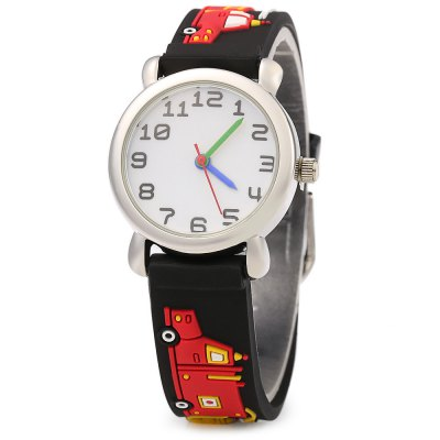 Stereo Cartoon Pattern Rubber Band Quartz Kids Watch