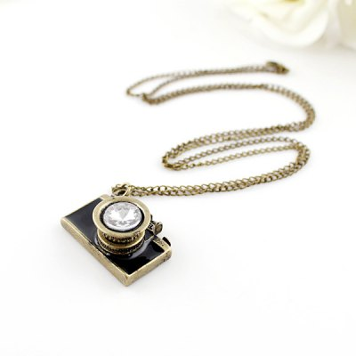 NC-039 Long Sweater Chain Decorative Camera Diamond Necklace