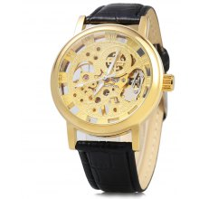 Hollow-out Dial Relief Automatic Mechanical Watch for Men