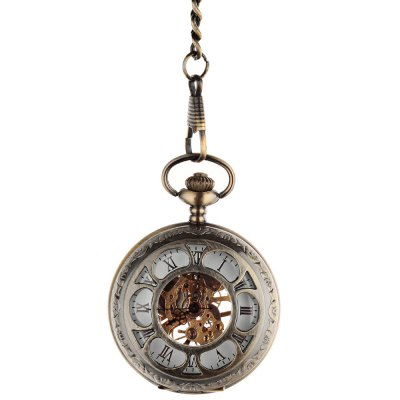 Two-faced Hollow-out Mechanical Pocket Watch Vintage Pattern