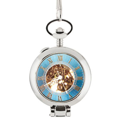 Two-faced Hollow-out Design Mechanical Pocket Watch