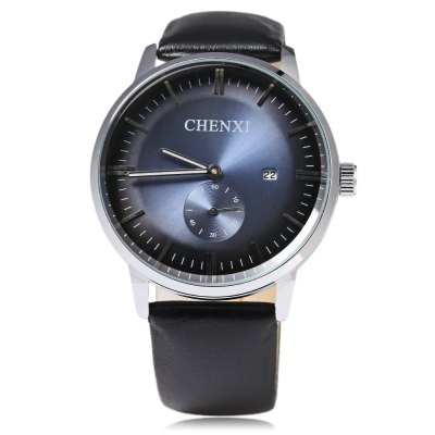 Chenxi 060A Working Sub-dial Male Date Display Quartz WatchMens Watches<br>Chenxi 060A Working Sub-dial Male Date Display Quartz Watch<br><br>Brand: Chenxi<br>Watches categories: Male table<br>Watch style: Fashion<br>Available color: Blue,Red,White<br>Movement type: Quartz watch<br>Shape of the dial: Round<br>Display type: Analog<br>Case material: Stainless Steel<br>Band material: Genuine Leather<br>Clasp type: Pin buckle<br>Special features: Date,Working sub-dial<br>The dial thickness: 1.1 cm / 0.43 inches<br>The dial diameter: 4.5 cm / 1.77 inches<br>The band width: 2.0 cm / 0.79 inches<br>Wearable length: 18 - 22.5 cm / 7.09 - 8.86 inches<br>Product weight: 0.054 kg<br>Package weight: 0.084 kg<br>Product size (L x W x H): 24.70 x 4.70 x 1.10 cm / 9.72 x 1.85 x 0.43 inches<br>Package size (L x W x H): 25.70 x 5.70 x 2.10 cm / 10.12 x 2.24 x 0.83 inches<br>Package Contents: 1 x Male Watch