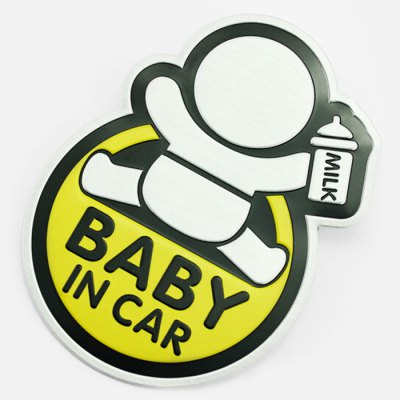 Baby in Car Safety Sign Vehicle Body Sticker Decoration Alluminum Alloy Decal