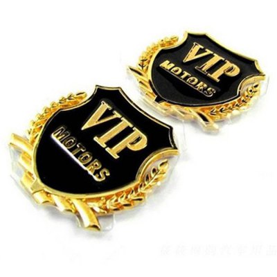 2pcs Car 3D Metal VIP StickerCar Stickers<br>2pcs Car 3D Metal VIP Sticker<br><br>Type: Other Decorations<br>Material: Metal<br>Color: Gold,Silver<br>Modelling  : Words<br>Product weight: 0.055 kg<br>Package weight: 0.100 kg<br>Product size (L x W x H): 5.00 x 5.00 x 0.50 cm / 1.97 x 1.97 x 0.20 inches<br>Package size (L x W x H): 17.50 x 9.60 x 1.50 cm / 6.89 x 3.78 x 0.59 inches<br>Package Contents: 2 x Sticker