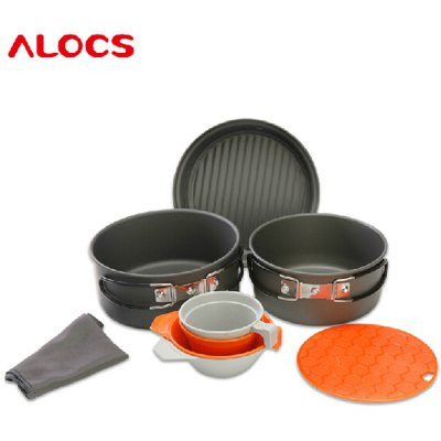 ALOCS CW-C11 9pcs Cookware Set Camping Pot