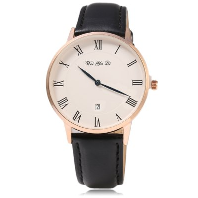 WYQ 89021 Roman Number Scale Unisex Date Quartz WatchWYQ 89021 Roman Number Scale Unisex Date Quartz Watch<br><br>Brand: Weiyaqi<br>People: Unisex table<br>Watch style: Fashion<br>Available color: Black and Gold,Black and Silver,Brown and Silver,Gold and Brown,Gold and Red,Silver and Red<br>Shape of the dial: Round<br>Movement type: Quartz watch<br>Display type: Analog<br>Case material: Stainless Steel<br>Band material: Leather<br>Clasp type: Pin buckle<br>Special features: Date<br>The dial thickness: 1.1 cm / 0.43 inches<br>The dial diameter: 4.5 cm / 1.77 inches<br>The band width: 1.8 cm / 0.71 inches<br>Wearable length: 18.5 - 23.4 cm / 7.48 - 9.21 inches<br>Product weight: 0.053 kg<br>Package weight: 0.083 kg<br>Product size (L x W x H): 25.50 x 4.70 x 1.10 cm / 10.04 x 1.85 x 0.43 inches<br>Package size (L x W x H): 26.50 x 5.70 x 2.10 cm / 10.43 x 2.24 x 0.83 inches<br>Package Contents: 1 x Unisex Watch