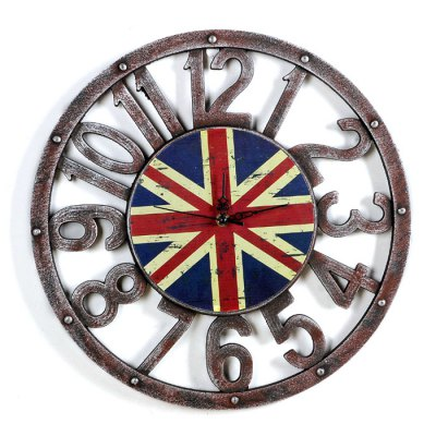 Retro Union Jack Pattern Numbers Wall Clock