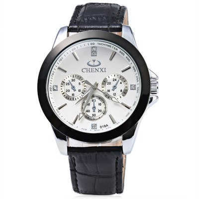 Chenxi 019A Decorative Sub-dial Nail Scale Men Quartz WatchMens Watches<br>Chenxi 019A Decorative Sub-dial Nail Scale Men Quartz Watch<br><br>Brand: Chenxi<br>Watches categories: Male table<br>Watch style: Fashion<br>Available color: Black,White<br>Movement type: Quartz watch<br>Shape of the dial: Round<br>Display type: Analog<br>Case material: Stainless Steel<br>Case color: Black<br>Band material: Genuine Leather<br>Clasp type: Pin buckle<br>Band color: Black<br>Special features: Decorating small sub-dials<br>The dial thickness: 1.2 cm / 0.47 inches<br>The dial diameter: 4.3 cm / 1.69 inches<br>The band width: 2.0 cm / 0.79 inches<br>Wearable length: 18.8 - 23.0 cm / 7.40 - 9.06 inches<br>Product weight: 0.054 kg<br>Package weight: 0.084 kg<br>Product size (L x W x H): 25.00 x 4.50 x 1.20 cm / 9.84 x 1.77 x 0.47 inches<br>Package size (L x W x H): 26.00 x 5.50 x 2.20 cm / 10.24 x 2.17 x 0.87 inches<br>Package Contents: 1 x Male Quartz Watch