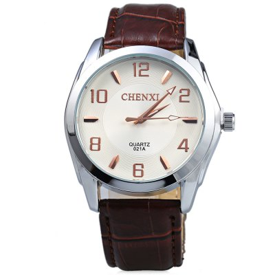 Chenxi 021A Big Round Dial Male Quartz Watch Leather Band
