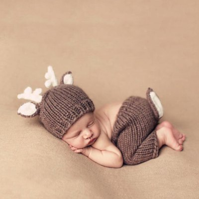Baby Infant Cute Deer Style Crochet Costume Photography Props Clothes Set