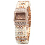 Aoyi A8202 Diamond Female Quartz Watch Pearl + Stainless Steel Strap