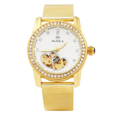 Monica 6852 Hollow-out Female Automatic Mechanical WatchWomens Watches<br>Monica 6852 Hollow-out Female Automatic Mechanical Watch<br><br>Brand: Monica<br>Watches categories: Female table<br>Available color: Gold<br>Style: Fashion&amp;Casual,Hollow Out<br>Movement type: Automatic mechanical watch<br>Shape of the dial: Round<br>Display type: Analog<br>Case material: Stainless Steel<br>Case color: Gold<br>Band material: Steel<br>Clasp type: Pin buckle<br>Band color: Gold<br>The dial thickness: 1.3 cm / 0.51 inches<br>The dial diameter: 3.7 cm / 1.46 inches<br>The band width: 1.8 cm / 0.71 inches<br>Wearable length: 16.5 - 21.0 cm / 6.50 - 8.27 inches<br>The band length: 23 cm / 9.06 inches<br>Product weight: 0.076 kg<br>Package weight: 0.106 kg<br>Product size (L x W x H): 23.00 x 4.30 x 1.30 cm / 9.06 x 1.69 x 0.51 inches<br>Package size (L x W x H): 24.00 x 5.30 x 2.30 cm / 9.45 x 2.09 x 0.91 inches<br>Package Contents: 1 x Female Watch