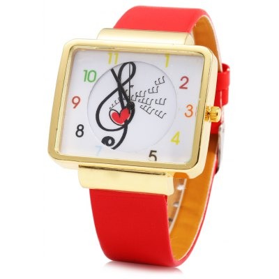 JUBAOLI 1094 Note Decoration Ladies Quart Watch Leather Band