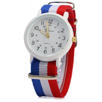 Geneva 1091 Double Scale Men Quartz Watch with Canvas Band
