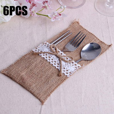 6PCS Burlap and Lace Cutlery Silverware Holder Pocket