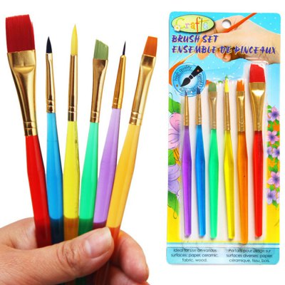 6PCS Washable Colorful Egg Painting Brush DIY Drawing Props