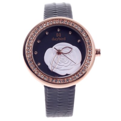 Daybird 3851 Camellia Diamond Lady Quartz WatchWomens Watches<br>Daybird 3851 Camellia Diamond Lady Quartz Watch<br><br>Brand: Daybird<br>Watches categories: Female table<br>Available color: Black<br>Style: Diamond,Fashion&amp;Casual<br>Movement type: Quartz watch<br>Shape of the dial: Round<br>Display type: Analog<br>Case material: Alloy<br>Band material: PU<br>Clasp type: Pin buckle<br>Battery Type: LR626<br>The dial thickness: 0.50 cm / 0.20 inches<br>The dial diameter: 3.70 cm / 1.46 inches<br>The band width: 1.5 cm / 0.59 inches<br>Product weight: 0.043 kg<br>Package weight: 0.073 kg<br>Product size (L x W x H): 23.30 x 3.70 x 0.50 cm / 9.17 x 1.46 x 0.20 inches<br>Package size (L x W x H): 9.00 x 8.00 x 5.00 cm / 3.54 x 3.15 x 1.97 inches<br>Package Contents: 1 x Quartz Watch