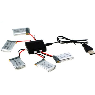 5 x 3.7V 750mAh Battery + Balance Charger / Cable Set for MJX X705C Syma X5C X5SW