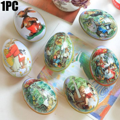 Small Colorful Easter Egg Shaped Iron Storage Box