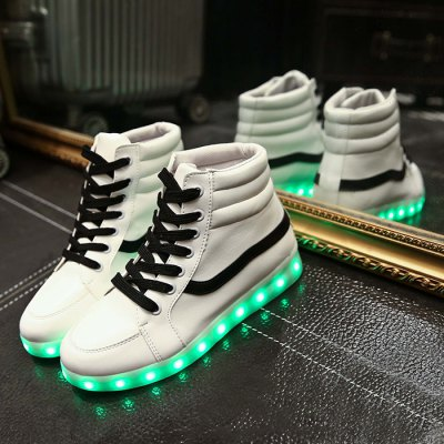 Unisex Charging Colorful Shining LED ShoesFootwear<br>Unisex Charging Colorful Shining LED Shoes<br><br>Size: 38,39,40,41,42,43,44<br>Gender: Unisex<br>Season: Autumn,Spring,Summer,Winter<br>Closure Type: Lace-Up<br>Sole Material: Rubber<br>Upper Height: Low<br>Highlights: LED Light<br>Battery: Lithium Battery<br>Charging: USB<br>Charging time: 1 - 2 hours<br>Using time: 5 hours<br>Battery Voltage: 3.7V<br>Product weight: 0.670 kg<br>Package weight: 0.870 kg<br>Package size: 28.00 x 21.00 x 10.00 cm / 11.02 x 8.27 x 3.94 inches<br>Package Contents: 1 x Pair of Unisex Charging Colorful Shining LED Shoes