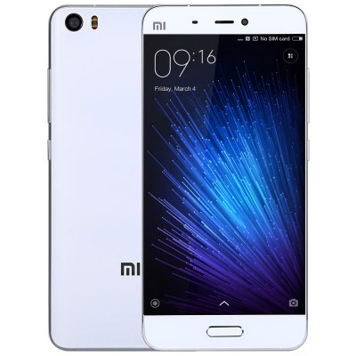 XiaoMi Mi5 32GB ROM 4G SmartphoneCell phones<br>XiaoMi Mi5 32GB ROM 4G Smartphone<br><br>Brand: Xiaomi<br>Type: 4G Smartphone<br>OS: MIUI 8<br>Service Provide: Unlocked<br>Language: Indonesian, Malay, German, English, Spanish, French, Polish, Portuguese, Romanian, Vietnamese, Turkish,  Czech, Russian, Hindi, Thai, Arabic, Persian, Hebrew, Korean, Simplified/TraditionalChinese as<br>SIM Card Slot: Dual SIM,Dual Standby<br>SIM Card Type: Dual Nano SIM<br>CPU: Qualcomm Snapdragon 820<br>Cores: 1.8GHz,Quad Core<br>GPU: Adreno 530<br>RAM: 3GB RAM<br>ROM: 32GB<br>External Memory: Not Supported<br>Wireless Connectivity: 3G,4G,A-GPS,GPS,GSM,NFC,WiFi<br>WIFI: 802.11a/b/g/n/ac wireless internet<br>Network type: FDD-LTE+WCDMA+GSM<br>2G: GSM 850/900/1800/1900MHz<br>3G: WCDMA 850/900/1900/2100MHz<br>4G: FDD-LTE 1800/2100/2600MHz<br>Screen type: Capacitive<br>Screen size: 5.15 inch<br>Screen resolution: 1920 x 1080 (FHD)<br>Pixels Per Inch (PPI): 428<br>Camera type: Dual cameras (one front one back)<br>Back-camera: 16.0MP 4-axis OIS<br>Front camera: 4.0MP<br>Video recording: 4K Video,Support 1080P Video Recording,Support 720P Video Recording,Yes<br>Aperture: f/2.0<br>Touch Focus: Yes<br>Auto Focus: Yes<br>Flashlight: Yes<br>Camera Functions: Anti Shake,Face Beauty,Face Detection<br>Picture format: BMP,GIF,JPEG,PNG<br>Music format: AAC,AMR,MP3,WAV<br>Video format: ASF,AVI,MKV,MP4<br>MS Office format: Excel,PPT,Word<br>E-book format: PDF,TXT<br>Live wallpaper support: Yes<br>I/O Interface: 2 x Nano SIM Slot,3.5mm Audio Out Port,Type-C<br>Bluetooth version: Bluetooth V4.2<br>Sensor: Accelerometer,Ambient Light Sensor,E-Compass,Gravity Sensor,Gyroscope,Hall Sensor,Proximity Sensor<br>OTA: Yes<br>Sound Recorder: Yes<br>Additional Features: 3G,4G,Alarm,Bluetooth,Browser,Calculator,Calendar,E-book,Fingerprint recognition,GPS,MP3,MP4,People,Sound Recorder,Video Call,Wi-Fi<br>Battery Capacity (mAh): 3000mAh<br>Battery Type: Lithium-ion Polymer Battery,Non-removable<br>Cell Phone: 1<br>Power Adapter: 1<br>USB Cable: 1<br>SIM Needle: 1<br>Product size: 14.45 x 6.92 x 0.73 cm / 5.69 x 2.72 x 0.29 inches<br>Package size: 18.00 x 12.00 x 6.00 cm / 7.09 x 4.72 x 2.36 inches<br>Product weight: 0.132 kg<br>Package weight: 0.400 kg