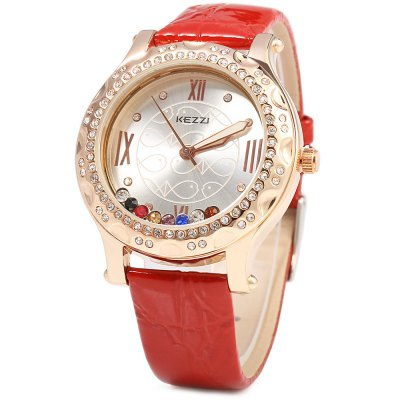 KEZZI 743 Fashional Quartz Watch Women WristwatchWomens Watches<br>KEZZI 743 Fashional Quartz Watch Women Wristwatch<br><br>Brand: Kezzi<br>Watches categories: Female table<br>Available color: Black,Pink,Red,Yellow<br>Style: Fashion&amp;Casual<br>Movement type: Quartz watch<br>Shape of the dial: Round<br>Display type: Analog<br>Case material: Stainless Steel<br>Case color: Gold<br>Band material: Leather<br>Clasp type: Pin buckle<br>The dial thickness: 1 cm / 0.39 inches<br>The dial diameter: 4 cm / 1.57 inches<br>The band width: 1.5 cm / 0.59 inches<br>Wearable length: 17 - 21 cm / 6.69 - 8.27 inches<br>The band length: 24 cm / 9.45 inches<br>Product weight: 0.052KG<br>Package weight: 0.092 KG<br>Product size (L x W x H): 24.00 x 4.50 x 1.00 cm / 9.45 x 1.77 x 0.39 inches<br>Package size (L x W x H): 25.00 x 5.50 x 2.00 cm / 9.84 x 2.17 x 0.79 inches<br>Package Contents: 1 x KEZZI Women Quartz Watch