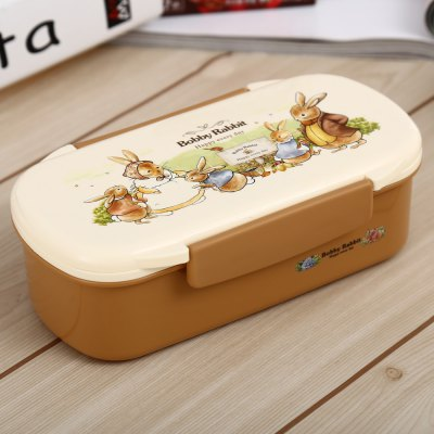 PP Rectangle Style Lunch Box with Cartoon Pictures