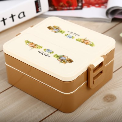 Dual Layer PP Lunch Box with Rectangular Type