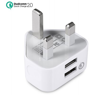 QC2.0 AC / DC Rapid Charger Dual USB Power Adapter UK Plug