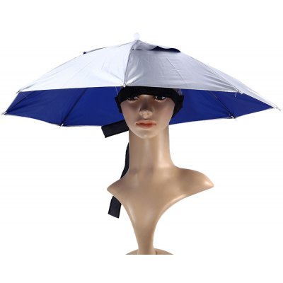 68cm Foldable Manual Umbrella Hat with Elastic Headband for Fishing