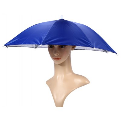 65cm Foldable Manual Umbrella Hat with Elastic Headband for Fishing