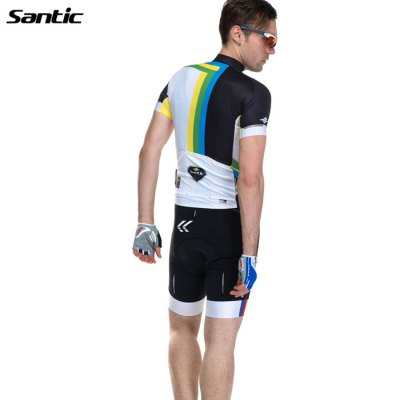 Santic Printing Male Cycling Short SleevesCycling Clothings<br>Santic Printing Male Cycling Short Sleeves<br><br>Brand: Santic<br>Feature: High elasticity, Breathable, Anti-UV<br>Package Contents: 1 x Santic Male Cycling Short Sleeves<br>Package size (L x W x H): 20.00 x 15.00 x 10.00 cm / 7.87 x 5.91 x 3.94 inches<br>Package weight: 0.420 kg<br>Product size (L x W x H): 66.00 x 55.00 x 2.00 cm / 25.98 x 21.65 x 0.79 inches<br>Product weight: 0.300 kg<br>Size: L,M,XL,XXL<br>Suitable Crowds: Men<br>Type: Short sleeve Tops