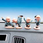 4pcs Creative Car Decoration Kung Fu Little Monk Doll